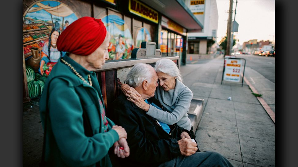 Senior Love Triangle - Will, Jeanie and Adina share a soda at a mini-mall in Los Angeles, California; © Isadora Kosofsky