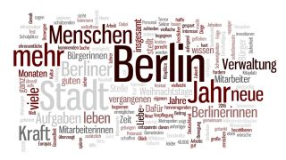 Michael Müllers Neujahrsansprache in der wordle-Grafik (Quelle: rbb/wordle.com)