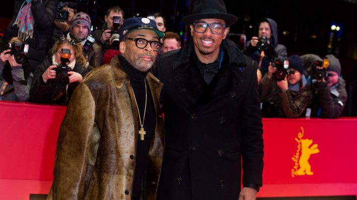 "66. Internationale Filmfestspiele in Berlin, 16.02.2016. Premiere ""Chi-Raq"": Spike Lee und Nick Cannon (l-r). Der Film läuft auf der Berlinale im Wettbewerb außer Konkurrenz (Quelle: Gregor Fischer/dpa)"