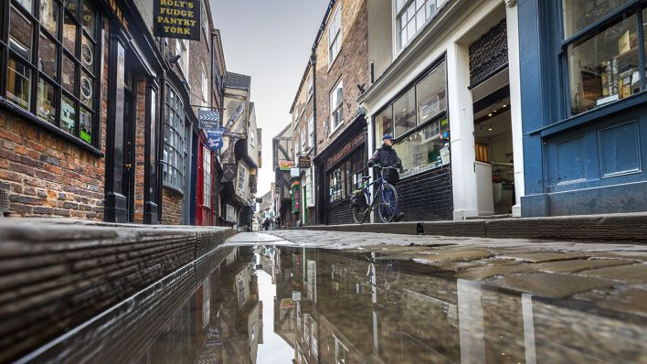 Inspiration für die Diagon Alley – The Shambles in York © Andrew Mccaren/London News Pictures via ZUMA Wire