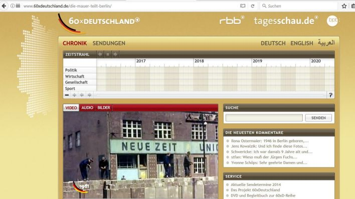 "Screenshot Website ""60xDeutschland""; Quelle: rbb"