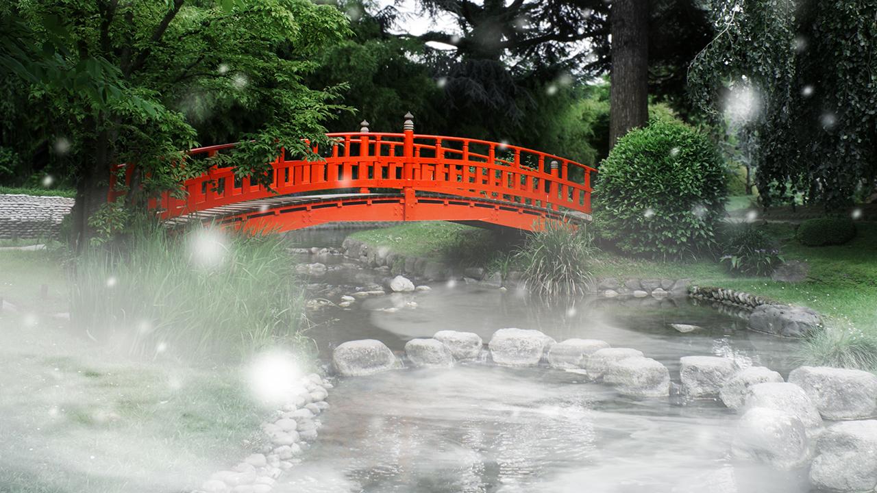 Rote Brücke In Einem Japanischen Garten, Foto: Colourbox