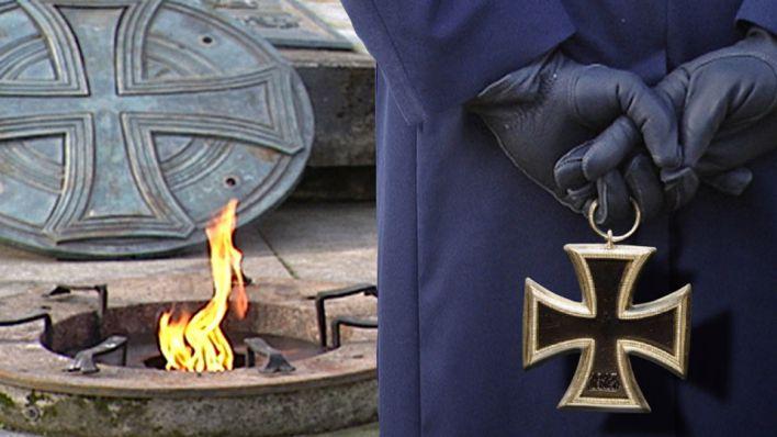 Soldatenhände halten Orden