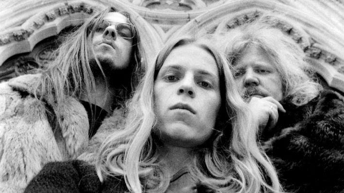 Christoph Franke, Peter Baumann und Edgar Froese in Reims 1974 (Quelle: Tangerine Dream)