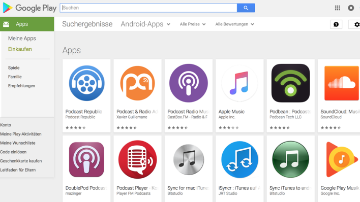 Podcast-Apps für Android-Geräte (Foto: Google Play Store)