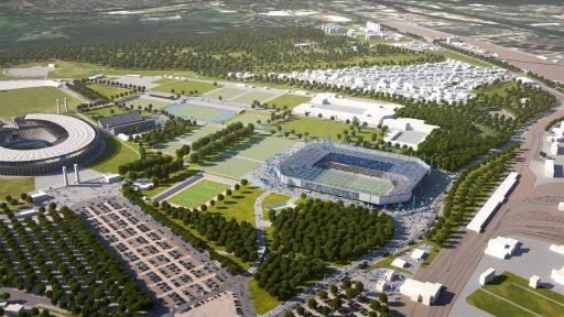 Die Grafik zeigt das Olympiagelände in Berlin - sollte Hertha BSC das Go für den Bau eines neuen Stadions bekommen, würde das nicht weit weg vom Olympiastadion entstehen