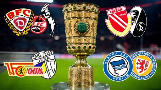 DFB Pokal mit den beteidigten Manschaftsduellen aus der Region Berlin Brandenburg (Quelle: dpa/Collage rbb)