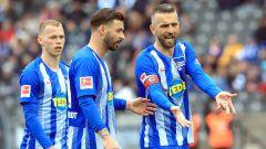 im Bild Vedad Ibisevic (Hertha BSC Berlin #19), Ondrej Duda  (Hertha BSC Berlin #10), Marvin Plattenhardt (Hertha BSC Berlin #21) (Quelle: dpa/Engler)