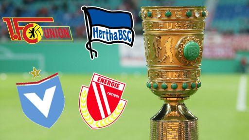 Der DFB Pokal mit den Vereinslogos von Union, Hertha, Viktoria und Cottbus. Bild: imago/Picture Point