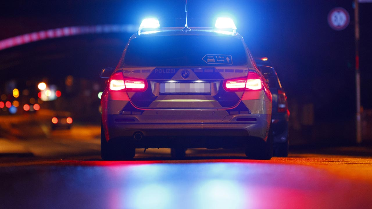 Polizeiauto an einer Ampel (Quelle: Christoph Hardt/Geisler-Fotopres)