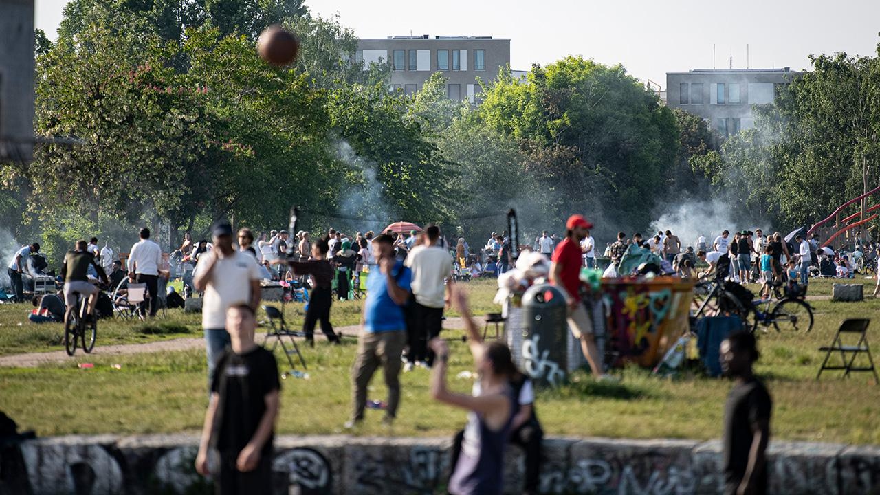 Symbolbild: Basketballspieler im Berliner Mauerpark, Prenzlauer Berg. (Quelle: dpa/F. Sommer)