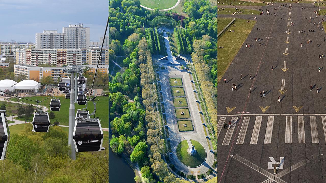 Collage: Die Seilbahn vor den Wohnhäusern von Marzahn / Sowjetisches Ehrenmal im Treptower Park / Tempelhofer Feld (Quelle: dpa/Jens Kalaene/Robert Grahn/Paul Zinken)