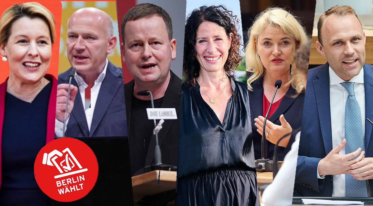 Berliner Spitzenkandidaten: (v.l.n.r.) Giffey, Wegner, Lederer, Jarasch, Brinker, Czaja (Quelle: dpa/Collage: rbb24)