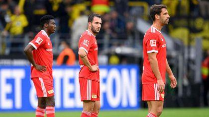 Die Neuzugänge Taiwo Awoniyi, Levin Öztunali und Rani Kherida beim Spiel in Dortmund. Bild: imago-images/Sven Simon