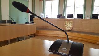 Mikrofon im Landgericht Cottbus (Foto: rbb/Krüger)