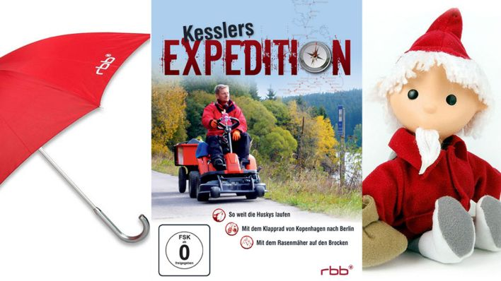 Regenschirm, Kesslers Expedition Box 2, Sandmann Puppe (Quelle: rbb media)